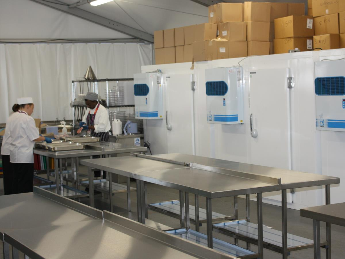 One of a number of installations for the London Olypmic games featuring cold room, preparation and production.