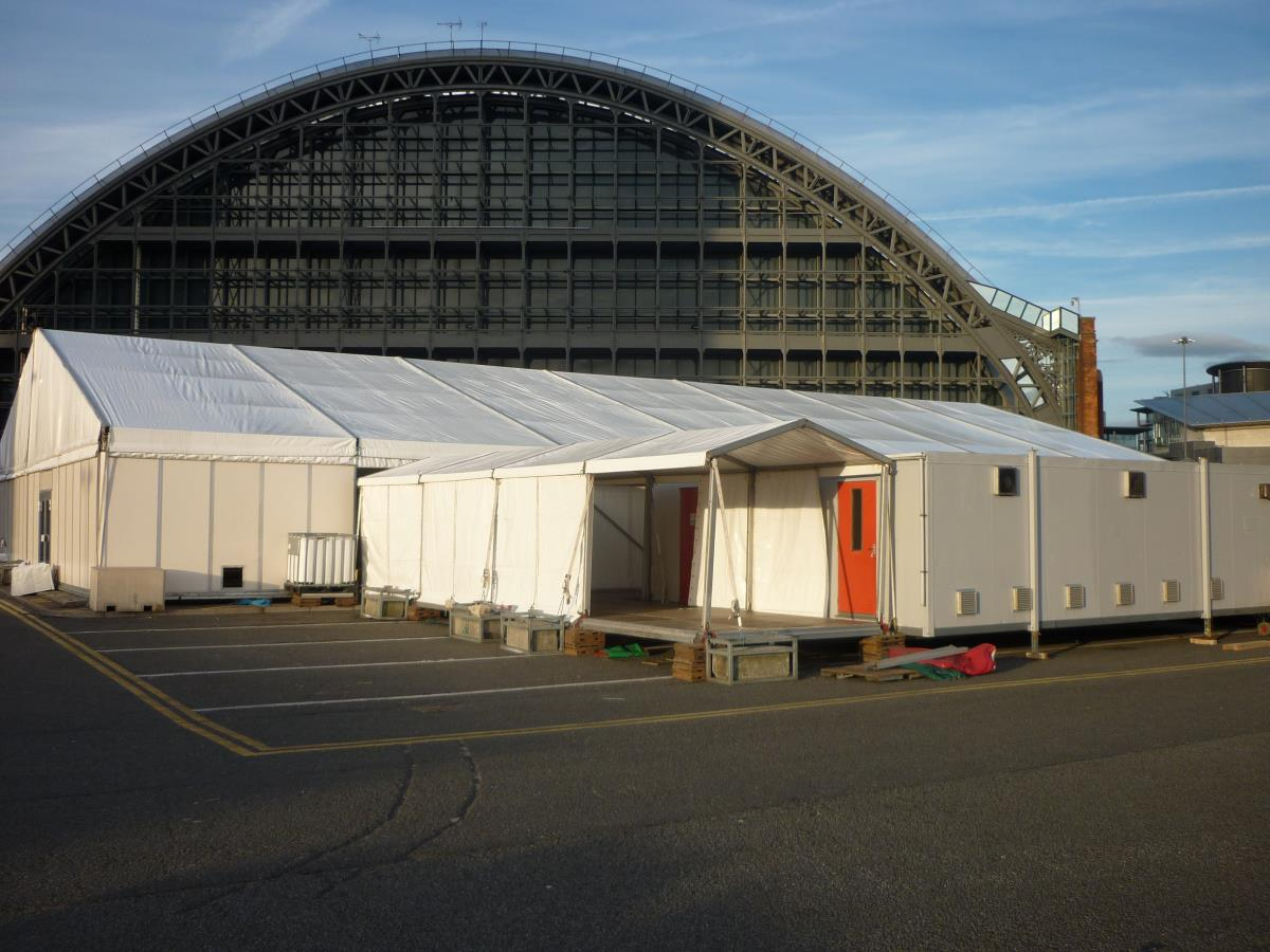 Marquees can be connected to other kitchen units to provide significant dining space at larger events such as conferences.